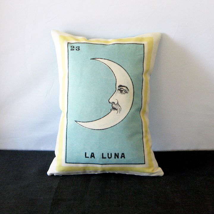 DAY of the DEAD SALE - La Luna Vintage Mexican Loteria Pillow Cover circa 1920 - Mexican Traditional Art, Day of the Dead, Dia de los Muerto by PillowandPocket on Etsy https://www.etsy.com/listing/202777267/day-of-the-dead-sale-la-luna-vintage
