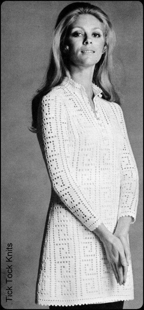 """No.83 PDF Vintage Crochet Pattern Women's Filet Crochet Tunic or Dress w/ Greek Key Motif - Finished Bust Sizes 34"""", 38"""", 41"""". $3.50, via Etsy."""