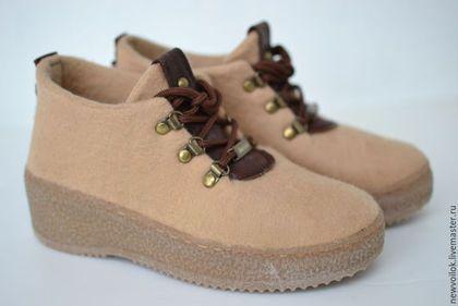"""Обувь ручной работы. Ботинки валяные женские """"Old School"""". NewVoilok. Интернет-магазин Ярмарка Мастеров. Валенки, итальянская подошва"""