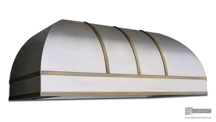 Bell range hood vent featuring rolled stainless steel and antique brass bars