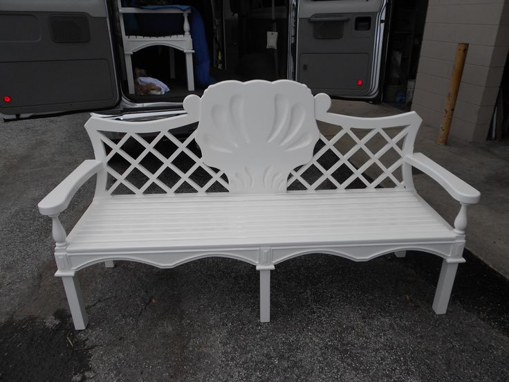 White Carved Lattice back bench - Figueroa's Fine Custom Furniture