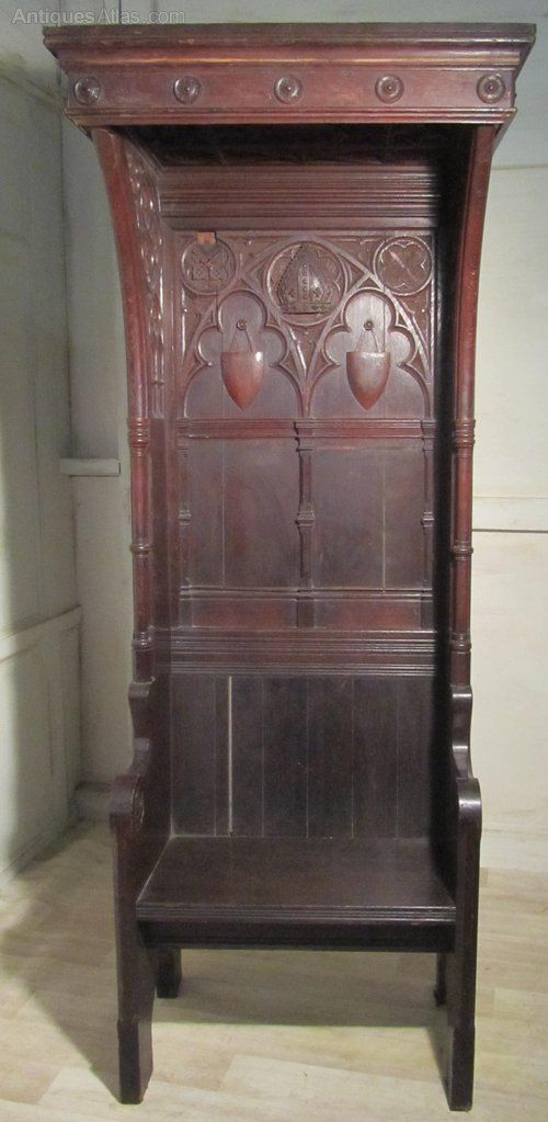 Victorian Carved Gothic Oak Bishops Chair Throne Neat