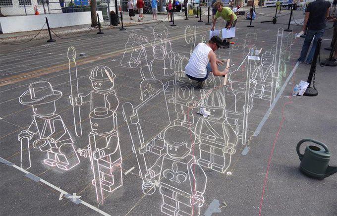 http://www.thecoolhunter.net/images/lego(1).jpg: 3D Street Art, Chalkart, Street Art Utopia, 3Dstreetart, Chalk Drawings, Sidewalks Art, Sarasota Florida, Sidewalks Chalk, Chalk Art