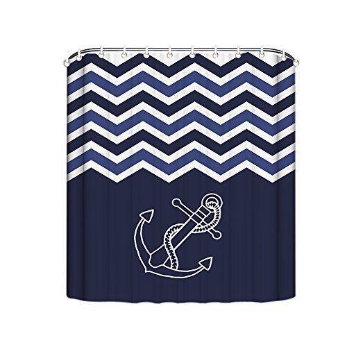 Misshow Anchor Shower Curtain Navy Blue Chevron Anchor Zig Zag Waterproof Bathroom Decor Polyester Fabric Shower Curtains 72(w) x 72(h)