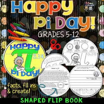 Once your students assemble their Pi Day flip book they will love that they will be able to see the Pi symbol and Albert Einstein! Lines up perfectly with numbered pages, dashed guidelines for cutting, and engaging enough to cover Pi Day without a lot of time to dedicate to it.