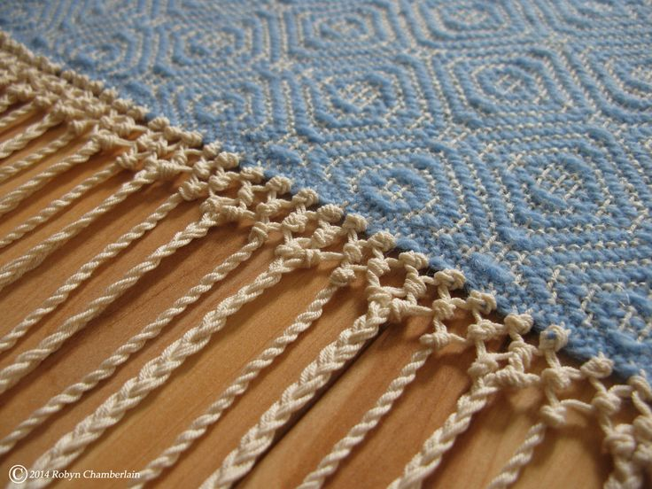 Fringe close-up from my recent table runner. My work is for sale on my Website: www.craftpigeon.net