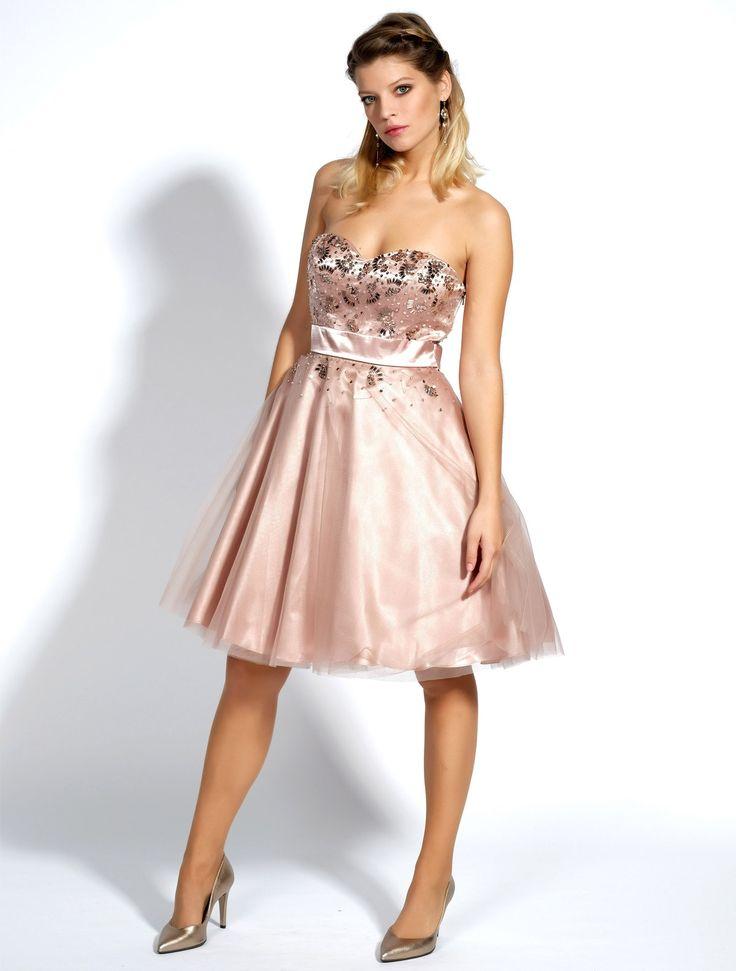 Korte, uitlopende jurk met kralen en lovertjes - De jurk sluit met een discrete rits op de rug en meet 95 cm vanaf de schouder.