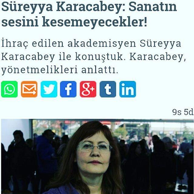 Doç. Dr. Süreyya Karacabey ile Güzel Sanatlar Eğitimi Yönetmeliği'nin kaldırılması ve sanata bakışı ile ilgili konuştuk.��✒ Link:http:www.gazeteduvar.com.tr/kultur-sanat/2017/05/22/sureyya-karacabey-sanatin-sesini-kesemeyecekler/ #güzelsanatlar #khk #süreyyakaracabey #sanat http://turkrazzi.com/ipost/1521749912340218005/?code=BUeV3uSBUCV