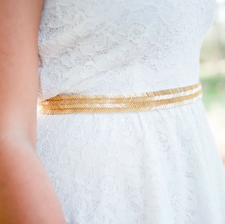gold wedding belt / Bridal sash  gold bridal belt by BridesBoutik, $48.90