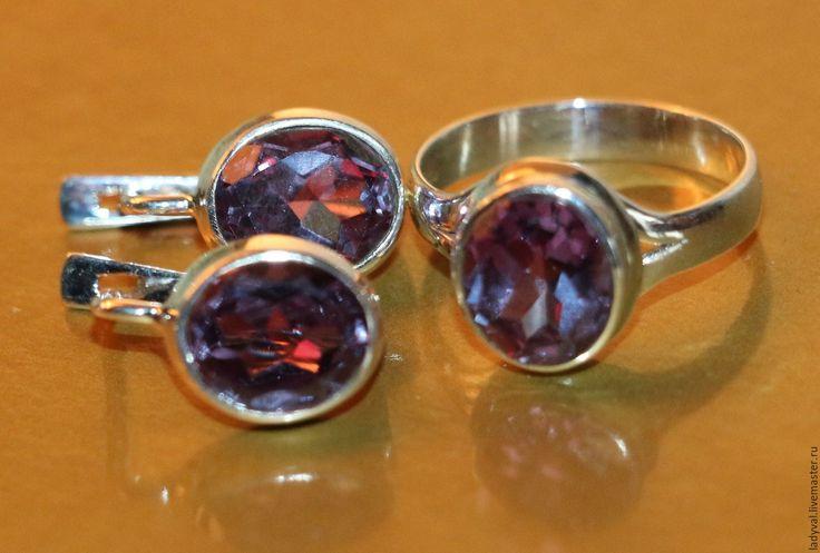 """Купить Серьги кольцо""""АЛЕКСАНДРИТ""""№17-александрит-серебро 925%. - необычный подарок, необычное украшение, нежное украшение"""
