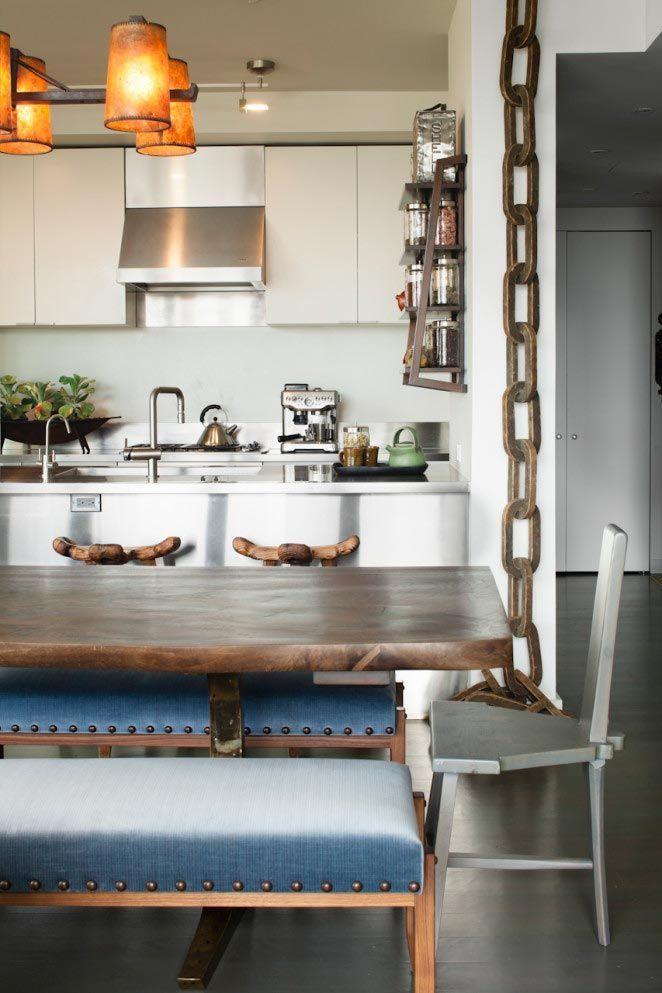 cocina-comedor-con-gran-mesa-madera-apartamento-nueva-york ...