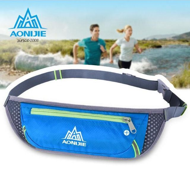 AONIJIE Men Women Movement Pockets Outdoor Sports Money Belt Sport Bag Waterproof Nylon Fanny Pack Marathon Running Bags