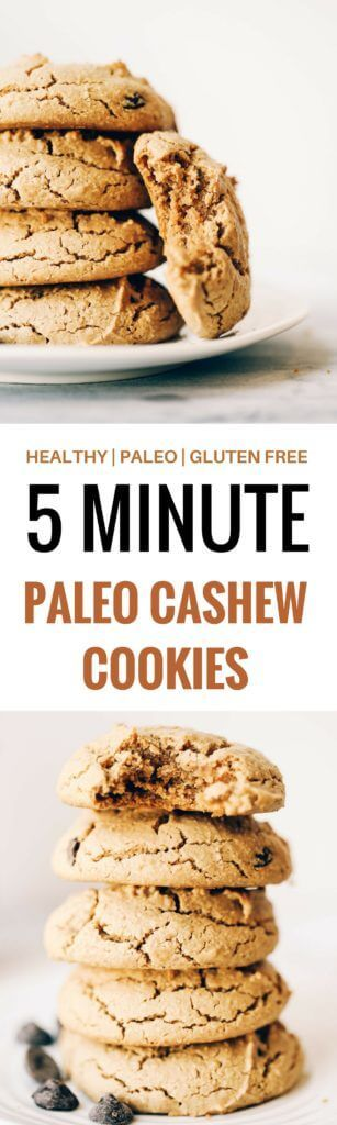 """According to wheat eaters these """"do not taste healthy""""- in a good way! The light, fluffiness of these cookies mixed with that soft thick and chewy cookie texture we all know and love is AM-AZING! Sweetened with just 1/4 cup maple syrup (paleo, grain free, refined sugar free). Easy paleo cookie recipes. Healthy paleo cookies. Easy gluten free cookie recipes. Best paleo cookie recipes. Best easy gluten free cashew cookies. Sugar free cookie recipes. Easy vegan chocolate chip cookies. Healthy…"""