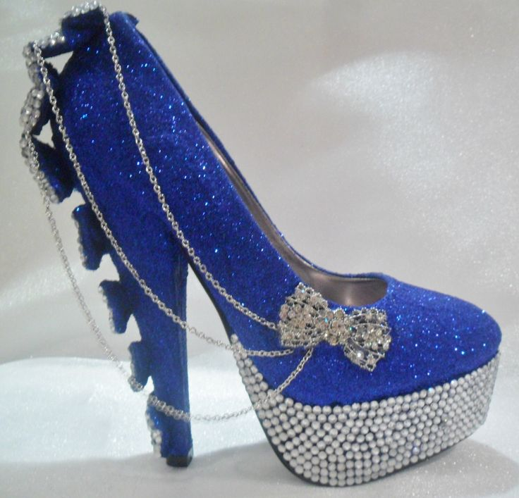 Royal Blue And Silver Heels  Tsaa Heel