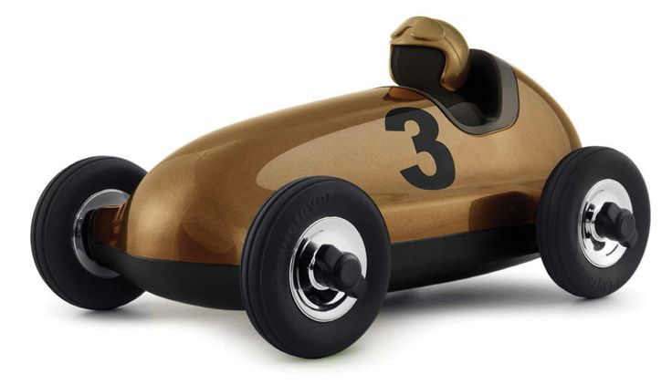 Playforever Bruno Classic Gold Racing Car Inspired by vintage car designs and details, the Bruno Racing Car is beautiful and fun! Gold is for winners and the Playforever Bruno is exactly that! Sleek and sophisticated.