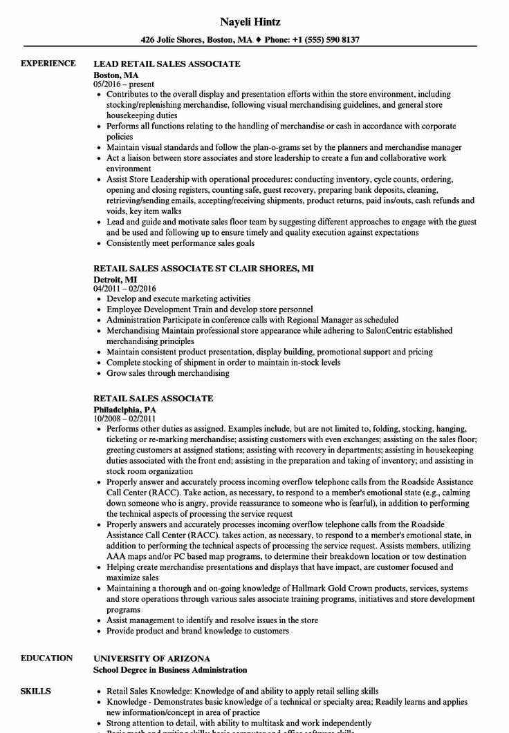 Jewelry Sales associate Resume Awesome Sales associate