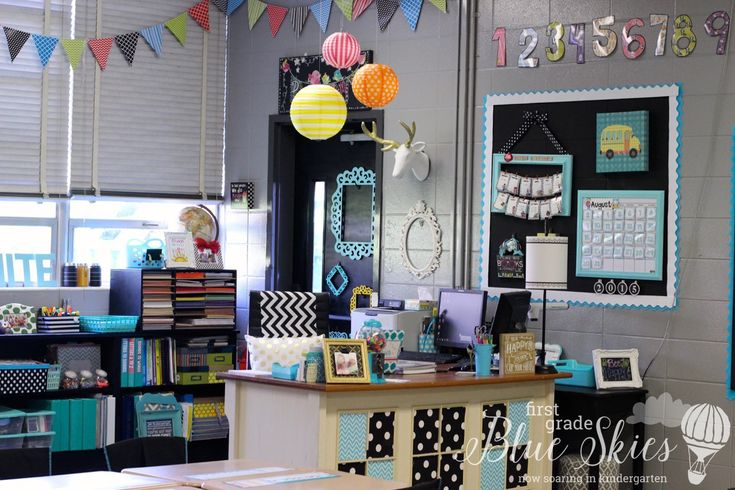 Classroom Reveal Photos by First Grade Blue Skies for 2015. Her Kindergarten Classroom reveals a happy space for her students, where learning can be fun!