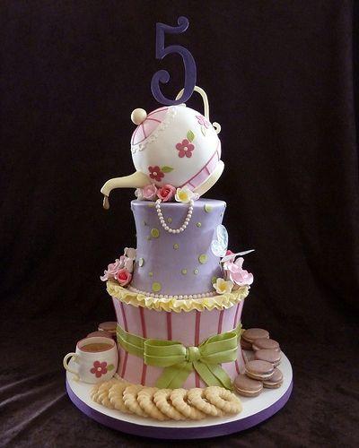 """""""Fancy Nancy"""" tea party birthday cake"""