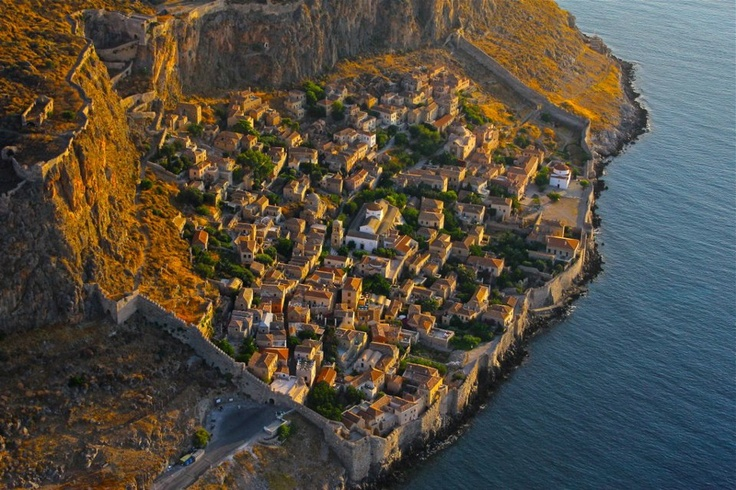 "GREECE CHANNEL | Monemvasia. Greece Name means ""one entrance"" which is the arched gate at bottom of the picture, left of the middle. When you pass through the stone tunnel, it's like stepping back in time, truly amazing!"