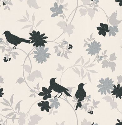 Black & White (BW28712) - Galerie Wallpapers - A beautiful leaf trail with metallic effects and black birds. Showing in contrasting black, silver and grey on white - other colours ways are available. Please request a sample for true colour match.