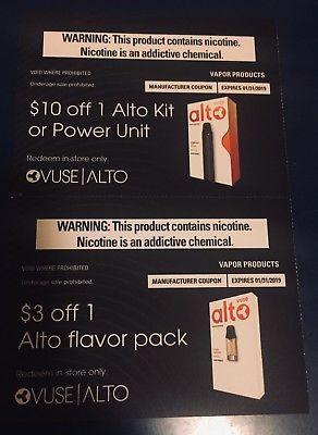 Vuse $10 Off Alto Kit or Power Unit + $3 Off Flavor Pack
