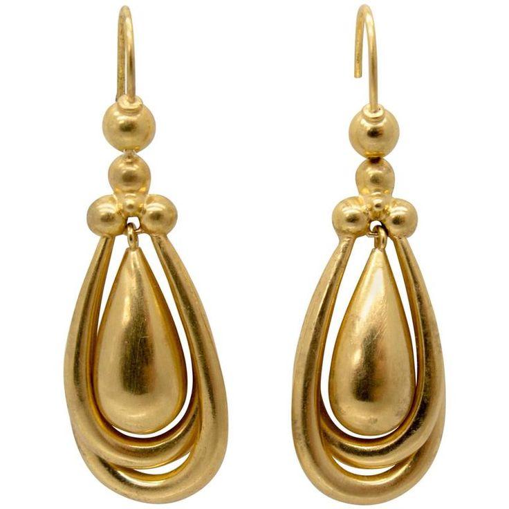 Distinctive Victorian Gold Drop Earrings 1