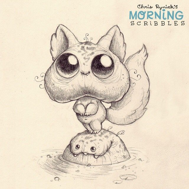 Artwork of Chris Ryniak. He LOOOVES his little monster creatures.  Morning Scribbles are the best. Follow Chris Ryniak on facebook and Instagram. ;) http://chrisryniak.com/ https://www.facebook.com/pages/Chris-Ryniak/68169468627