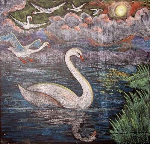 Chalkboard drawing by Allen Stovall -- from The Six Swans..to teach class to the number six.