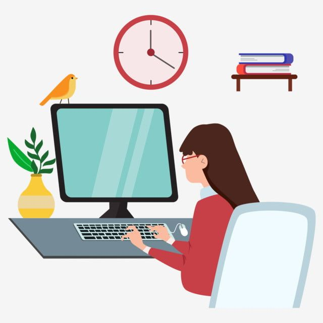 Desktop Computer One Flat Style Work Girl Vector Desktop Computer Computer One Book Png And Vector With Transparent Background For Free Download Motion Design Animation Book Clip Art Alphabet Wallpaper