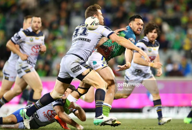 Jordan Rapana of the Raiders offloads during the round 17 NRL match between the Canberra Raiders and the North Queensland Cowboys at GIO Stadium on July 1, 2017 in Canberra, Australia.