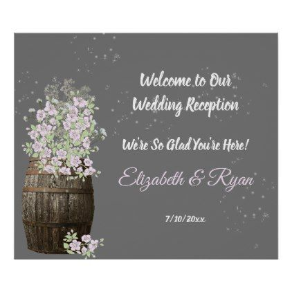 Wedding Reception Wine Barrel Baby's Breath Custom Poster - rustic gifts ideas customize personalize