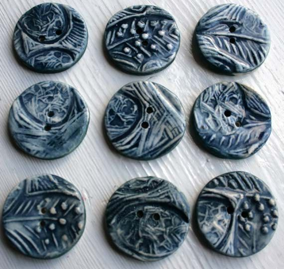 5 Handmade Ceramic buttons inky blue eggs and by jolucksted, £10.00