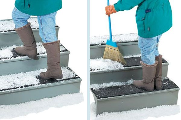 Add rubberized Ice Breaker Stair Treads to steps. In freezing weather, these cushy mats release ice with a stomp of the foot so that you can brush it away without danger. | Ice Breaker Mats from @vtcountrystore