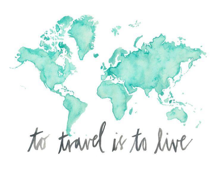 5 x 7 8.5x11 o 11 x 14  viaje mundo mapa imprimir