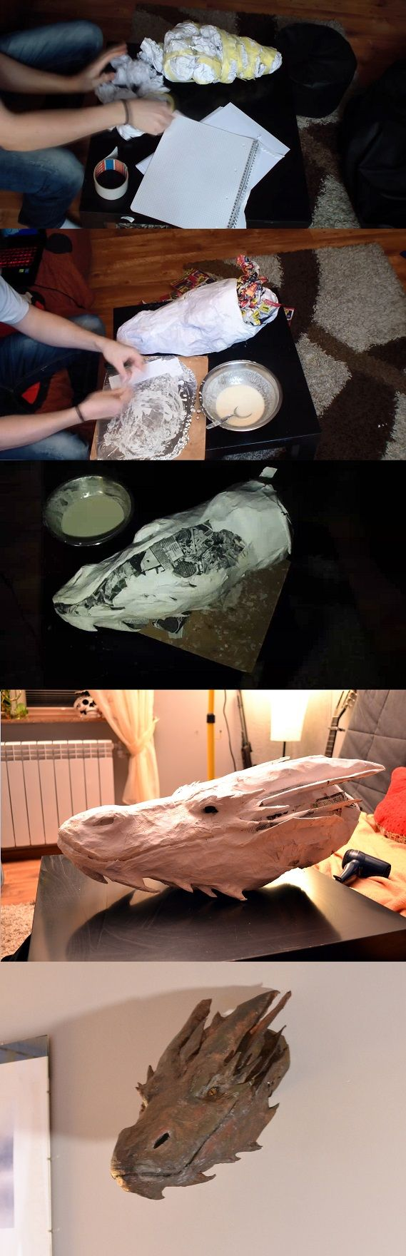 Paper mache Smaug head   https://www.youtube.com/watch?v=y586n2D-t8Y