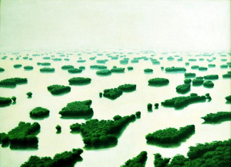 """Tomaz Sanchez (1948 -     ) - Com talentos diversificados - na área da pintura, design e desenho - está intimamente associado ao movimento neo-figurativo de Cuba nos anos 60 e 70.  """"Isla de Agues Blancas"""", de 1984 - Nesta obra a paisagem é proveniente do imaginário do artista."""