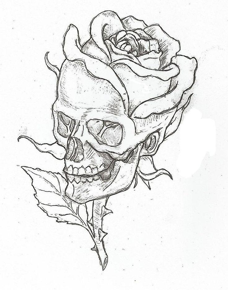 easy skull drawings rose drawings awesome drawings art drawings skull ...