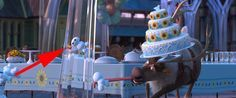 Baymax, from Big Hero 6, is one of the little snowmen trying to get to the cake in Frozen Fever. | 5 Sneaky Easter Eggs You May Not Have Noticed In Disney Shorts