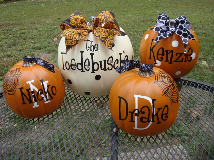 Family Name and each family member on faux pumpkins you could use them for years!Faux Pumpkin, Fall Decor, Family Pumpkin, Personalized Pumpkin, Halloween Pumpkin, Names On Pumpkin, Families Pumpkin, Cute Pumpkin, Families Members