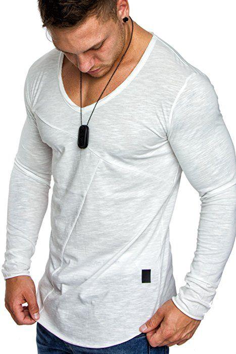 28182f83aa3c3c Amaci Sons Oversize Herren Vintage Longsleeve V-Neck Basic Sweatshirt V-Ausschnitt  Shirt 6061 Weiß S  Amazon.de  Bekleidung