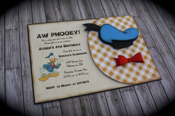 DONALD DUCK Invitation by kutekardz on Etsy, $6.85