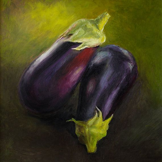 Giclee, Archival, Matted Print of an Original Oil Pastel Painting of Eggplants