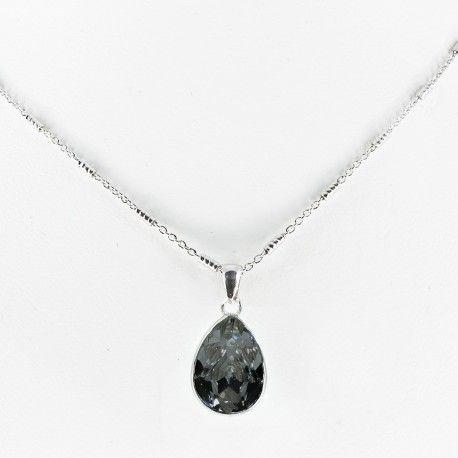 Collar plata de ley con piedra SWAROVSKY black diamond #joyas #brugine #collares