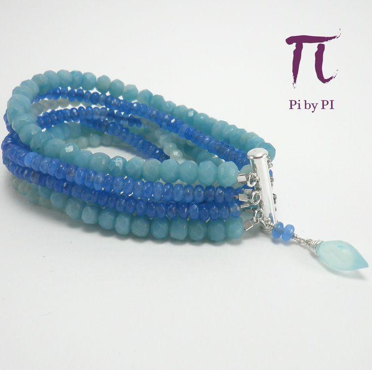 Pulsera de jade azul y amazonitas. 7 tiras unidas con un cierre de plata 925 con imán / Blue jade and amazonite in this multistrand bracelet with a sterling silver magnetic clasp.