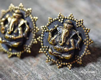 Vedora Ganesh 5/8 16 mm Plug Brass w/Silver Tunnel Tribal Plugs Tribal Gauges Tribal Earrings Ear weights Tunnels Designer Jewelry Star Plug