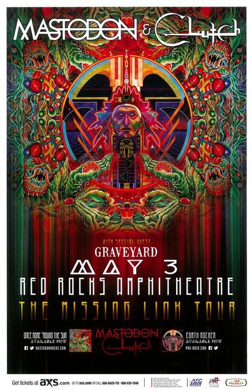 Concert poster for Mastodon and Clutch at Red Rocks in Morrison, CO in 2015.  11