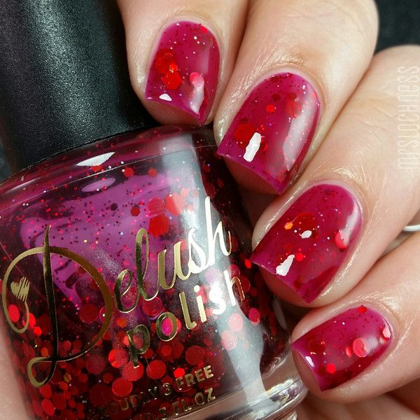 A deep blood red jelly with various sized holographic red glitters! The perfect tribute to Dexter. This listing is for a full sized 15ml bottle. Swatches: Mrs Lochness / Accio Lacquer / Sister Lacquer
