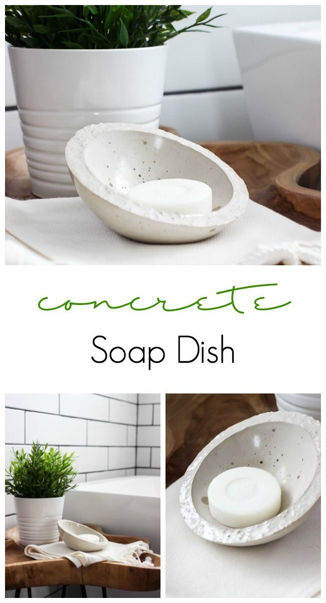 Love this DIY concrete soap dish! Such a quick and easy project for the bathroom. The perfect modern accessory!
