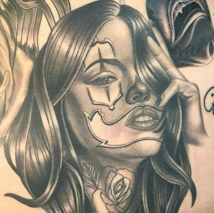 Best 25 tattoo chicana ideas on pinterest tatuagem for Chicano clown girl tattoos