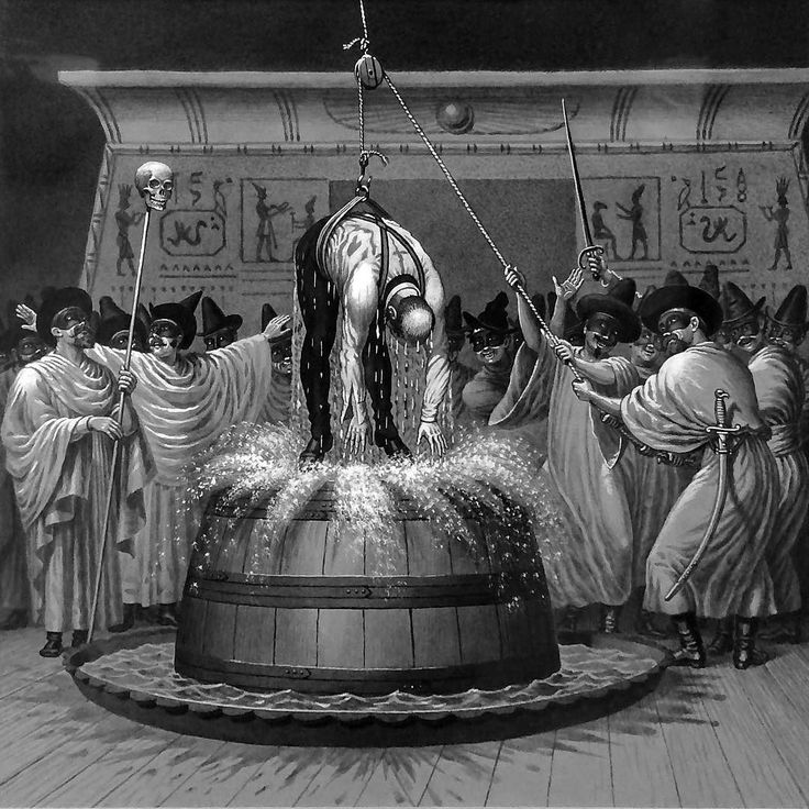 Purification by Water. After all thats happened to this poor fella a good dunking may be what he needs to sober him up! Part 9/10 .. .. .. #fossilbluff #masonic #freemason #initiation #dunktank #splash #swords #masks #blockandtackle #rope  #egypt #temple